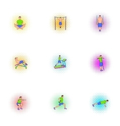 Fitness icons set pop-art style vector