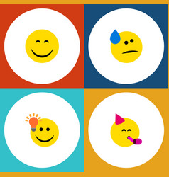 Flat icon emoji set of tears have an good opinion vector