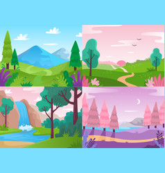 Flat landscape summer field nature forest fauna vector