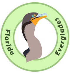florida everglades cormorant logo vector image