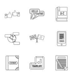Foreign language icons set outline style vector image