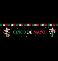 Funny cactus mariachi band cinco de mayo banner vector