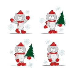 Funny santa bear with christmas tree for your vector