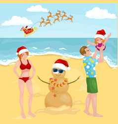 Happy cartoon family with snowman made with sand vector