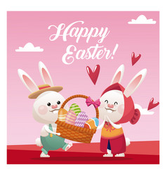 Happy easter couple bunny basket egg pink vector