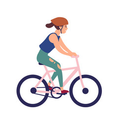 happy young woman in helmet riding bike smiling vector image