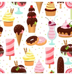 Ice cream and sweets seamless pattern vector image