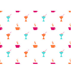 ice cream seamless pattern coffee mug icons vector image