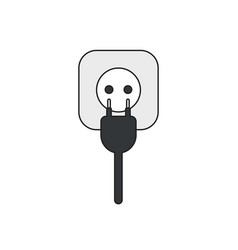 icon concept plug with cable and outlet black vector image