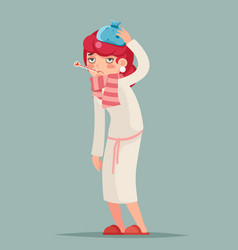 Ill female cold virus flu disease illness sick vector