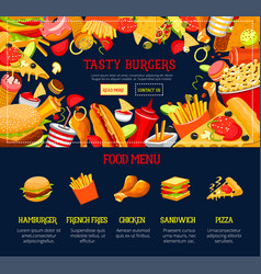 landing page template fast food web site vector image