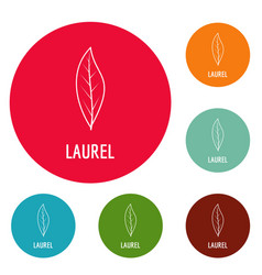 Laurel leaf icons circle set vector