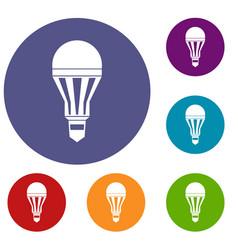 led bulb icons set vector image