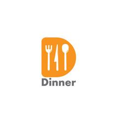 Letter d spoon fork knife restaurant logo vector