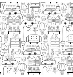 Line hand drawn doodle living pattern background vector