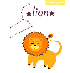 lion constellation with star sign vector image