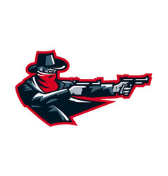 Logo cowboy shooting from a revolver wild west vector