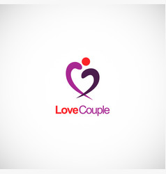 love couple abstract heart logo vector image