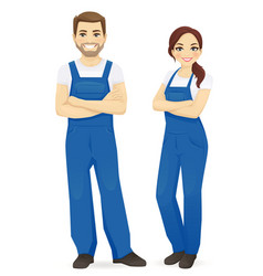 Man and woman in blue overalls vector