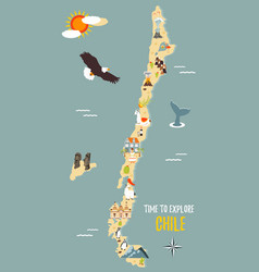 map of chile with destinations animals landmarks vector image