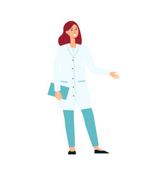 Medical female doctor standing and gesticulating vector