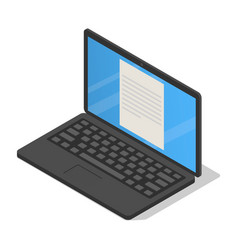 modern black school laptop icon isometric style vector image