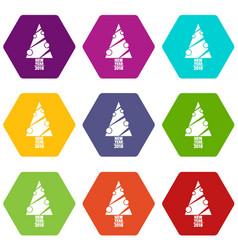 modern christmas tree icons set 9 vector image
