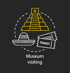 Museum visiting chalk concept icon family vector