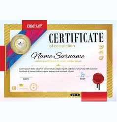 Official certificate with badge red ribbon and vector