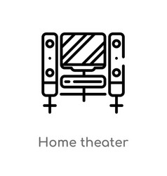 outline home theater icon isolated black simple vector image