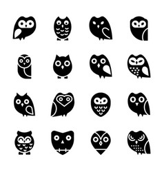 Owl cartoon solid icons vector