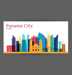 Panama city architecture silhouette colorful vector