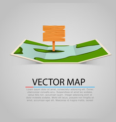 Paper map sign with wooden pointer vector
