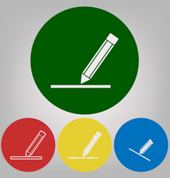 Pencil sign 4 white styles vector