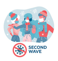 people in masks and warm clothes coronavirus vector image