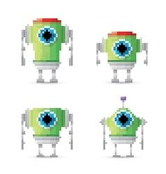 pixel style green robot set vector image