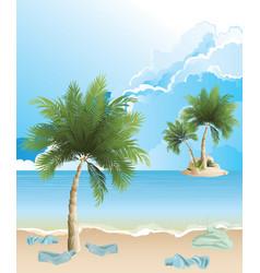 Polluted tropical island beach vector