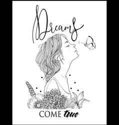 profile young beautiful woman with lettering vector image