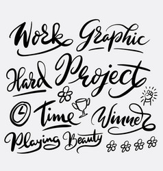 project and graphic work hand written typography vector image