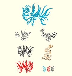 rabbit and bird vector image