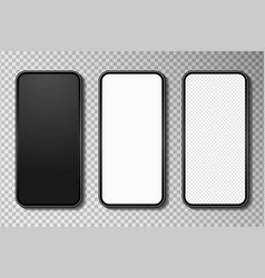 realistic smartphone mockup set with white blank vector image