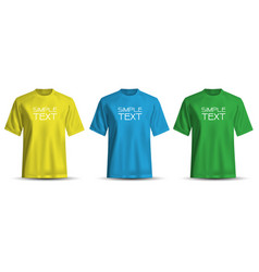 realistic t-shirt yellow blue green on white vector image