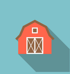 Red barn icon with long shadow vector