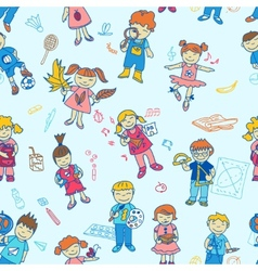 Seamless of back to school kids vector image