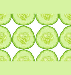 seamless pattern of cucumber slice vector image