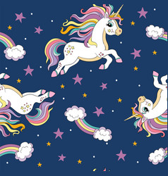 seamless pattern with magic unicorns and vector image