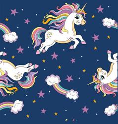 Seamless pattern with magic unicorns vector