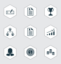 set of 9 hr icons includes bank payment business vector image
