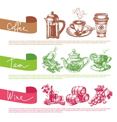set of coffee tea and wine sketch vector image