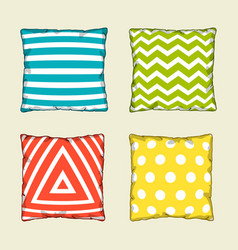 Set of multicolored decorative pillows sketch vector